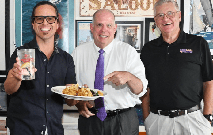 Governor Larry Hogan celebrates 30 Maryland crab cakes with Nestor and Don at Boatyard in Annapolis
