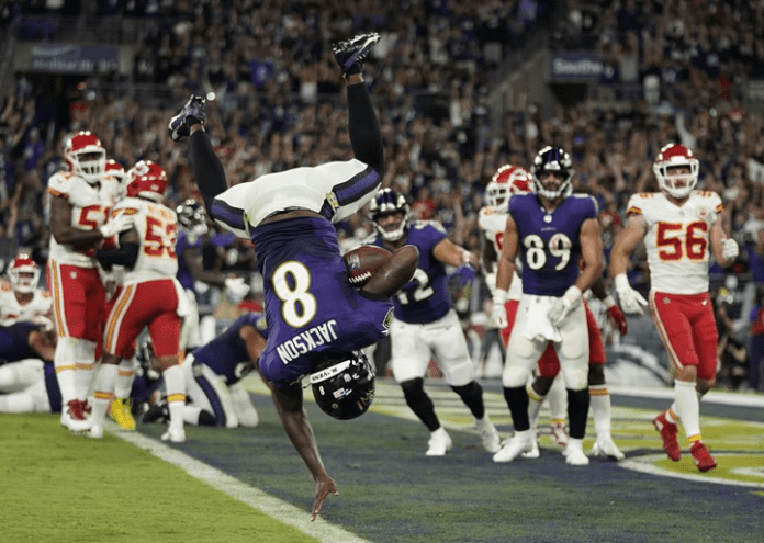 """Harbaugh """"speechless"""" after Ravens' heart-stopping 36-35 win over Kansas City"""