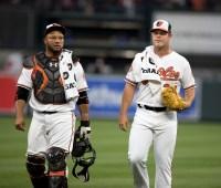 Welington Castillo and Dylan Bundy - Baltimore Orioles