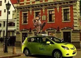 Kriegstanz auf Taxi-Dach