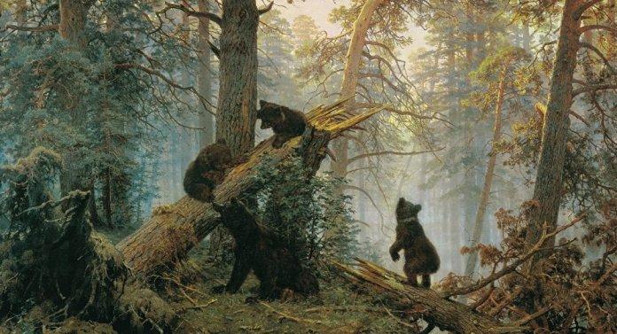 """Das Bild des russischen Malers Konstantin Savizkij """"Morgen im Kiefernwald"""""""