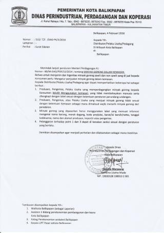 Contoh Surat Edaran dari Dinas Perindustrian