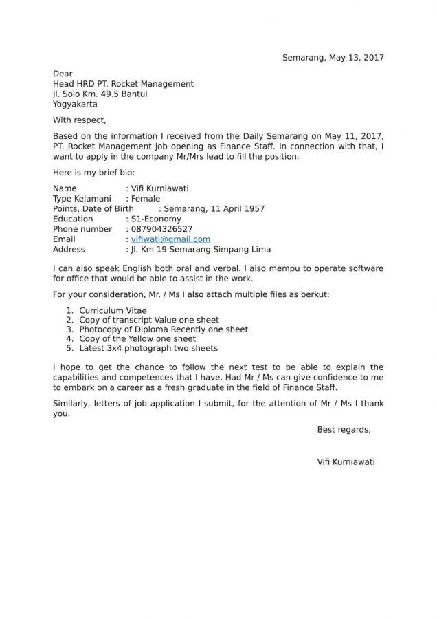 contoh surat lamaran kerja dengan bahasa inggris