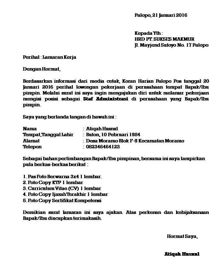 contoh surat lamaran kerja di perusahaan