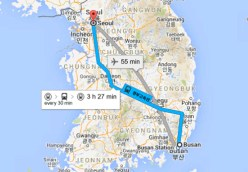 Distance between Busan to Seoul is 326Km
