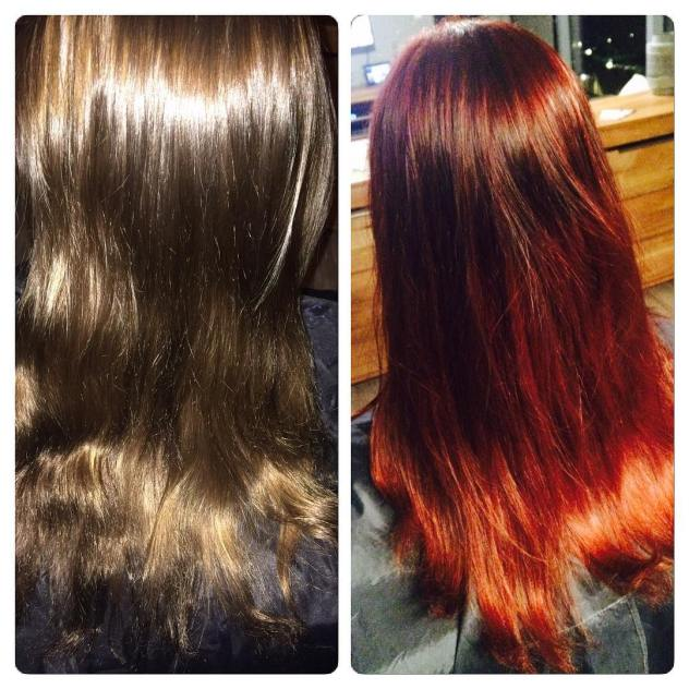 Before and after before and after color warm red haircolorhellip