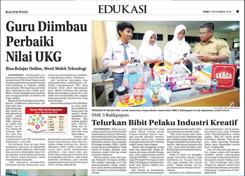Kliping Kaltim Post (edisi cetak) Rabu, 9 November 2016