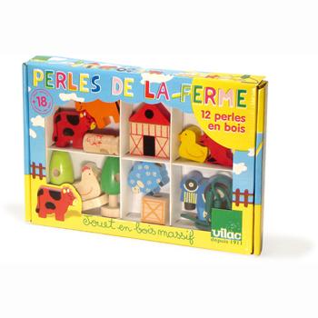 Vilac Wooden Farm Bead Set