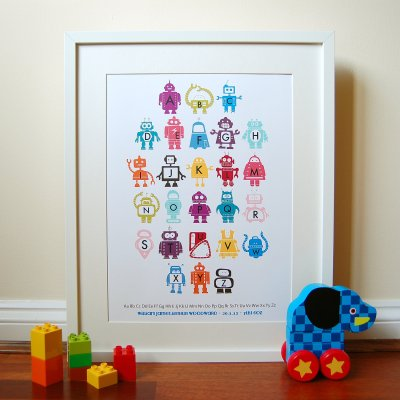 Little Ink Shop Robot alphabet print