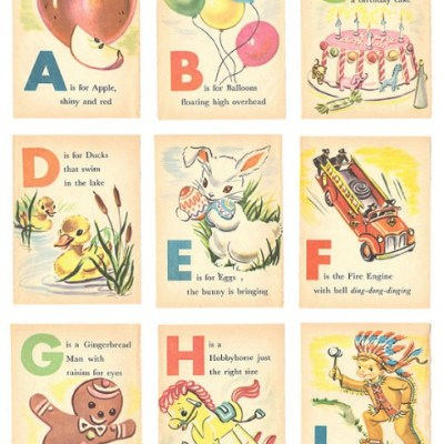 Vintage Alphabet Flash Cards printable