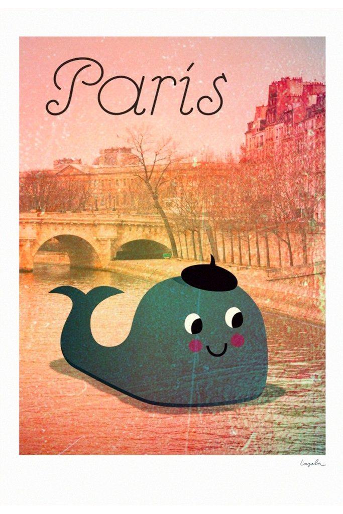 Whale in Paris poster by Ingela P Arrhenius