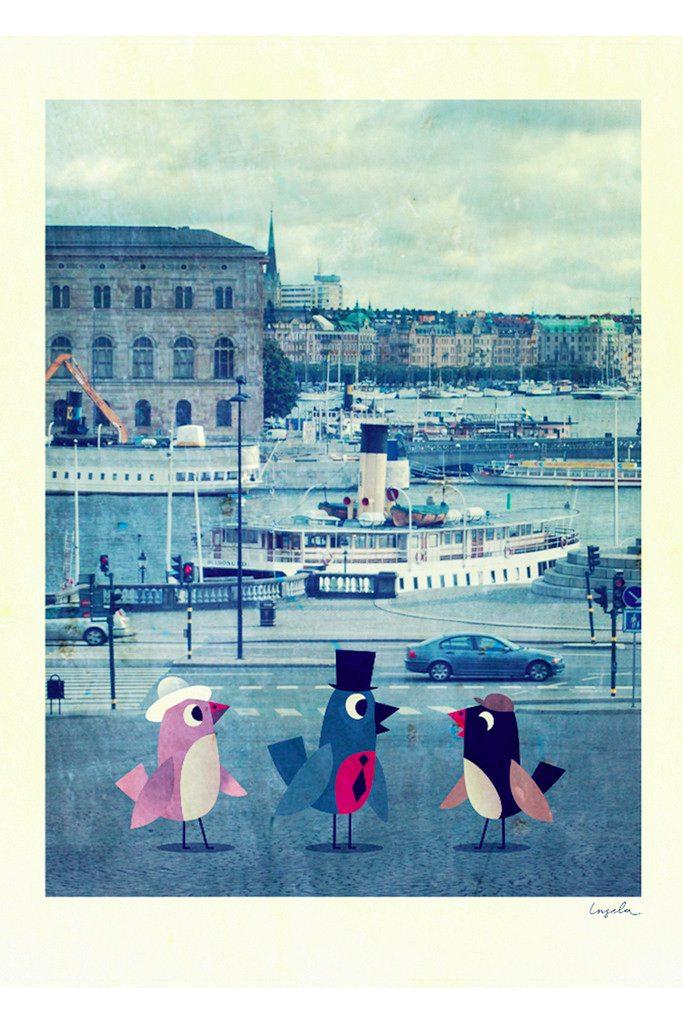 Birds in Stockholm poster by Ingela P Arrhenius