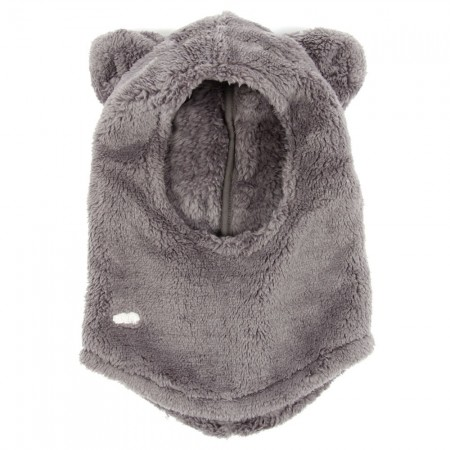Talc fake fur hood