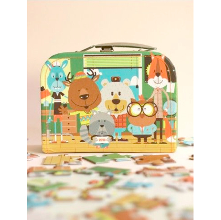 Wood Campers for La Marelle Edition puzzle and cardboard suitcase