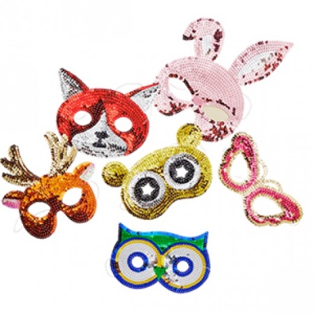 Rice DK sequin animal masks