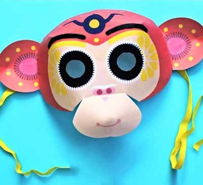 Happy Thought printable Chinese New Year monkey masks