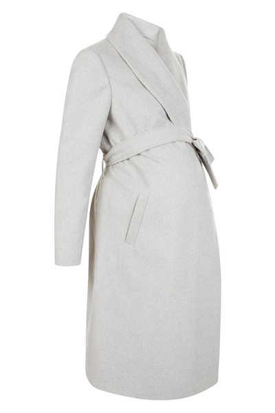 Maternity Grey Belted Wrap Coat, £39.99, New Look