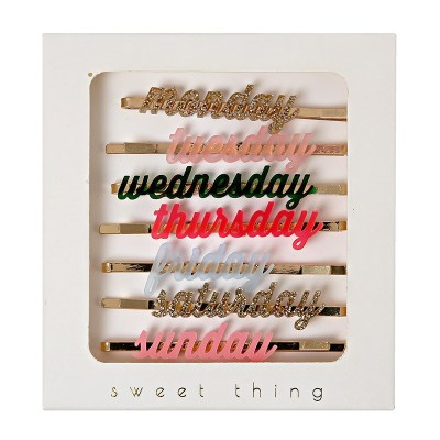 Back in stock: Days of the week hairclips