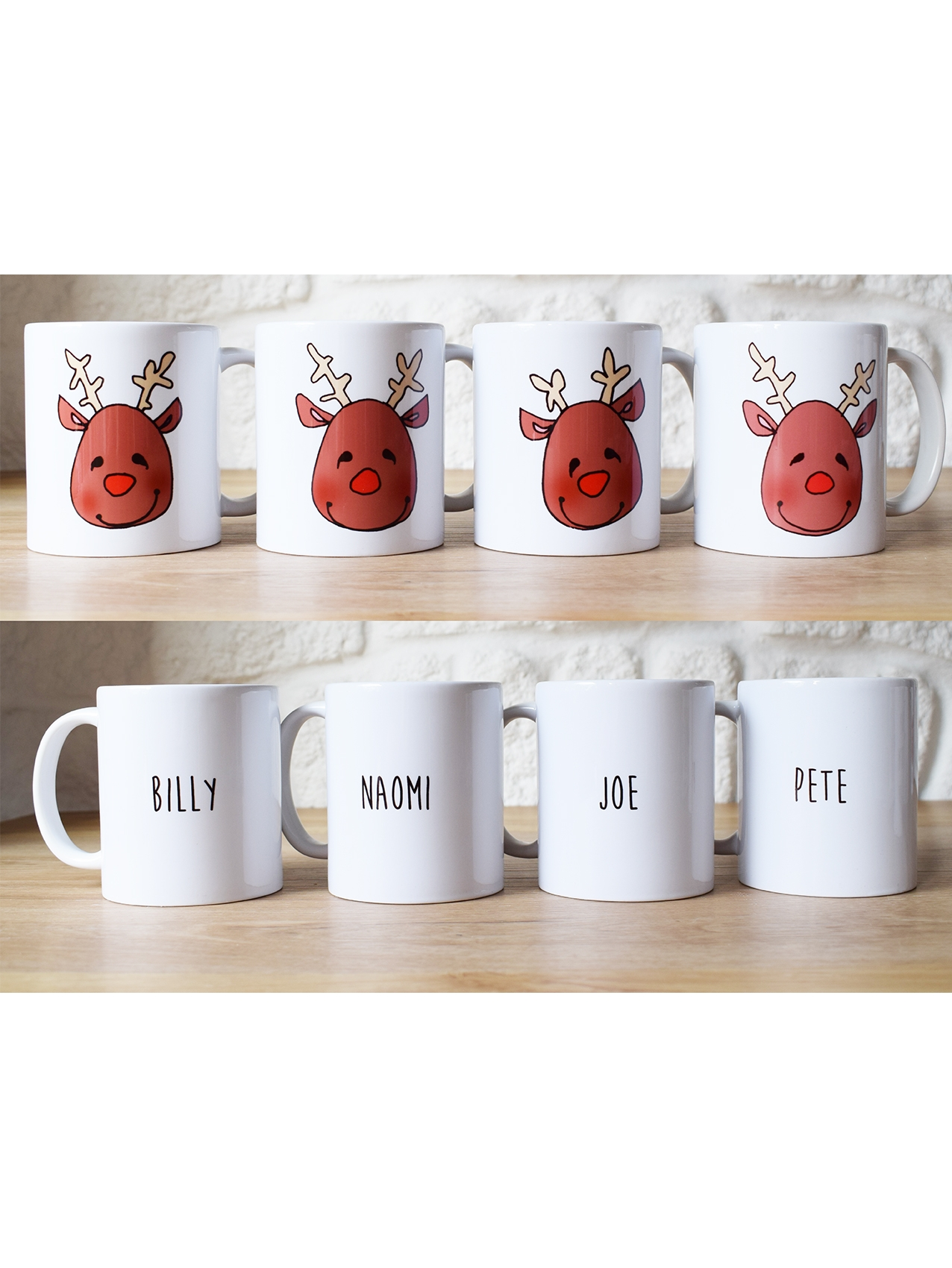 Personalised Reindeer Mugs