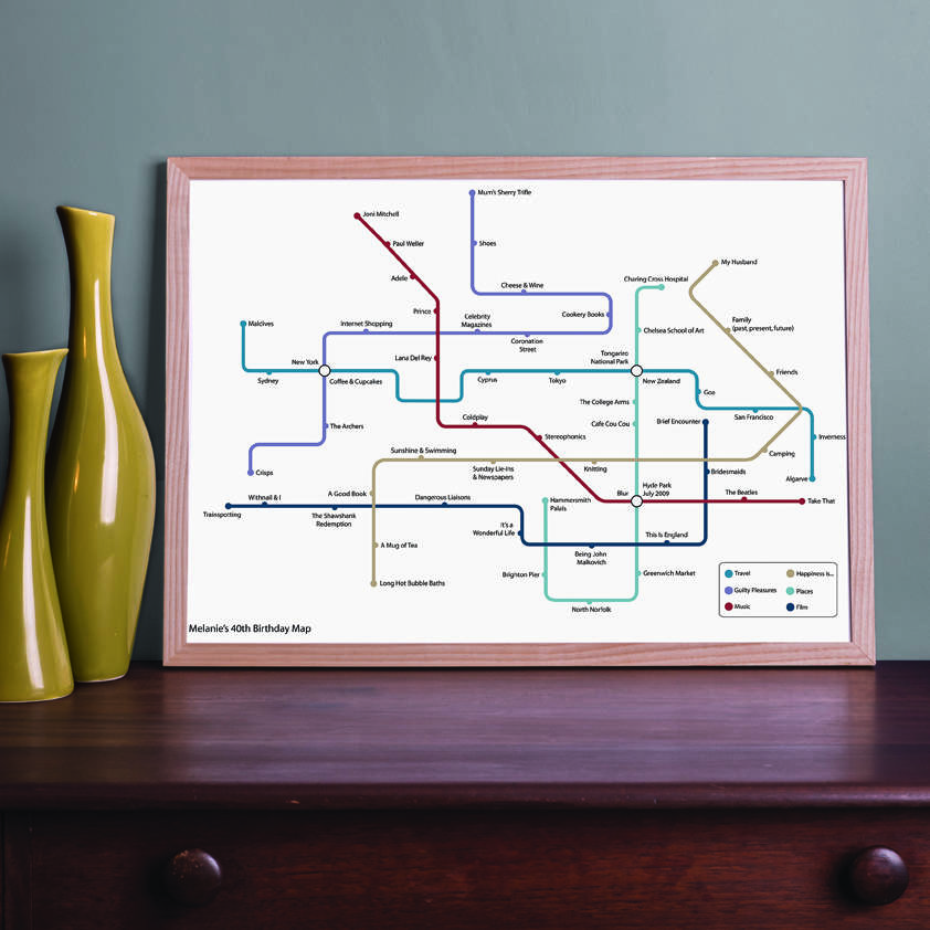 Personalised Metro Map Print, £100, This is My Map