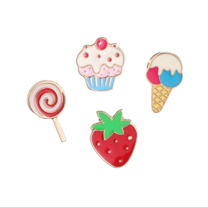 Sweets Enamel Pins, £4.50, Pink Craft Boutique.