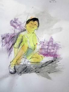 portret1 - fineliner en aquarel