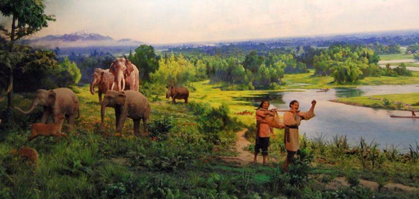 Diorama im Museum von Jinsha - Elefanten in China