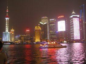 Die Hochhöuser von Pudong am Abend