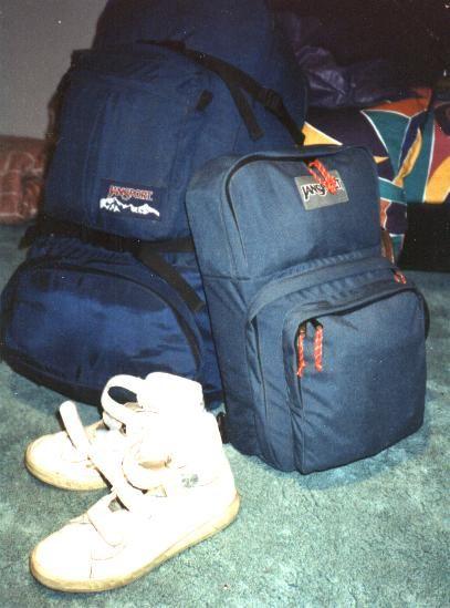Rucksack, Tagesrucksack, feste Schuhe - meine Ausrüstung für meine große Reise 1991