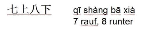 Qi shang ba xia = unruhig, unsicher