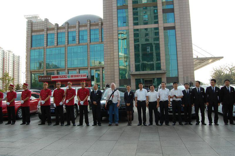 Heute morgen in Taiyuan: Das Hotelpersonal stellt sich auf, um uns zu verabschieden.
