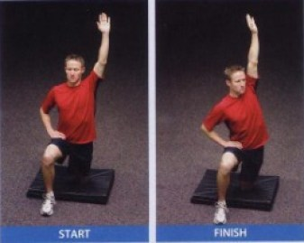 active kneeling hip flexor stretch with torso rotated