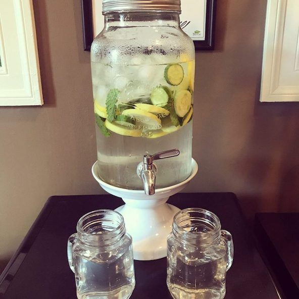 Cucumber lemon and mint infused water