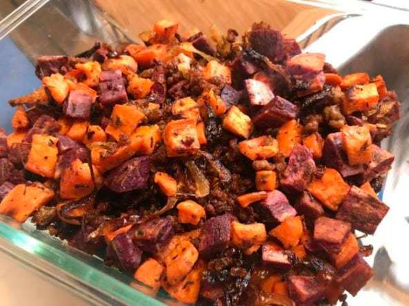 Ground pork sweet potato hash
