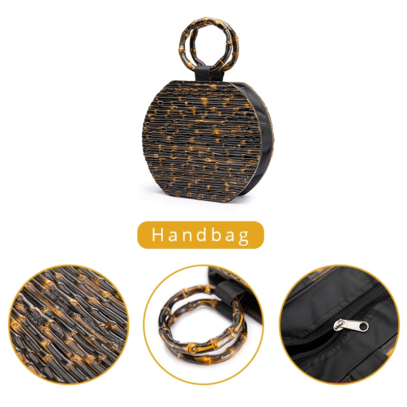 6Pcs Bamboo Purse Handbag Handles Replacement for Handmade Bag Beach Bag Handbags Straw Bag Purse Handles