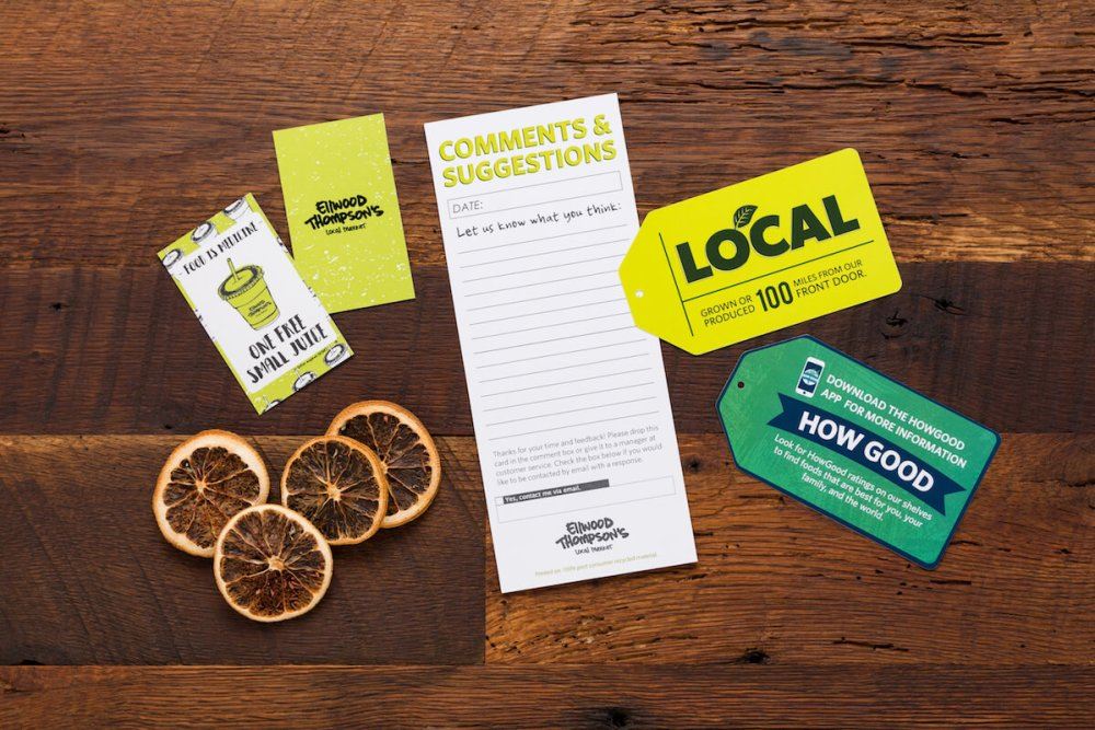 comment cards as part of Ellwood Thompson's marketing materials