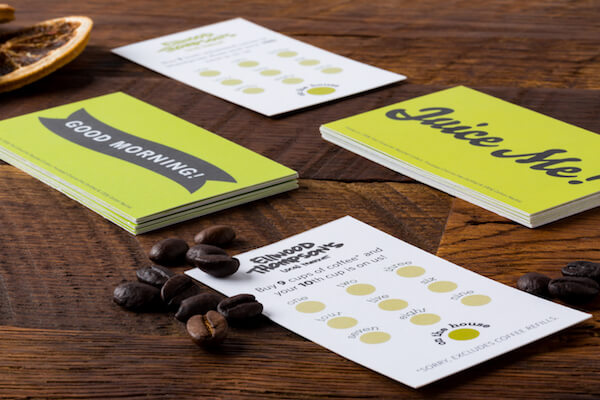 coffee cards and juice cards printed for Ellwood Thompson's