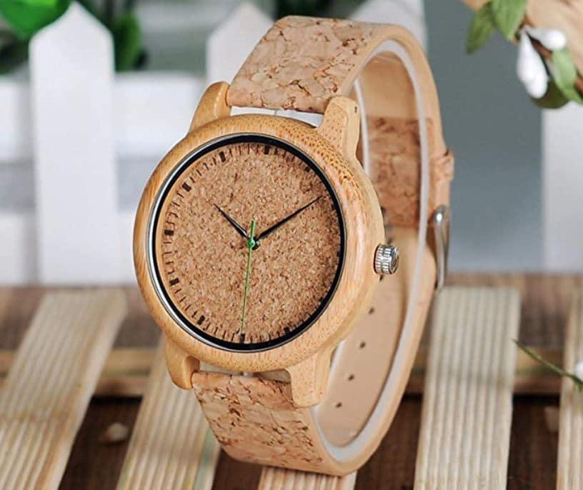 Montre en bambou avec bracelet en liège