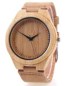 montre bambou cuir