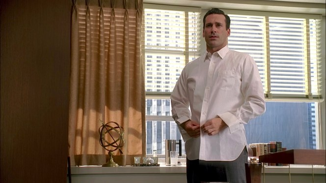 Don swaps out his white dress shirt for... another white dress shirt.