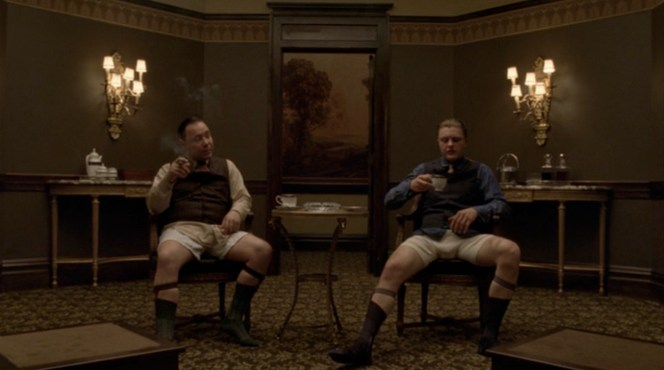 I bet fans of mob films didn't tune into this show expecting a scene of Al Capone in his underwear, but there you have it.