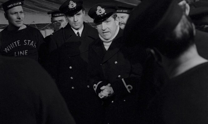 Lightoller gives orders to the crew before loading the lifeboats.