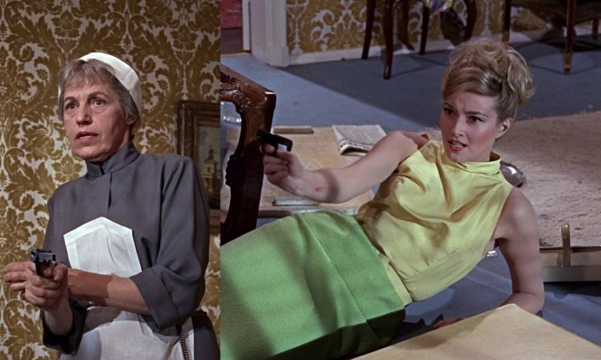 Left: Rosa Klebb holds a Llama on Bond that becomes a...Right: ...Beretta when Tatiana grabs it.