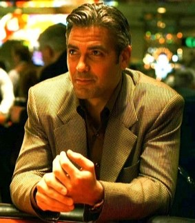 George Clooney at the tables as Danny Ocean in the 2001 Ocean's Eleven remake.