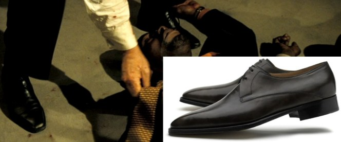 Sadly, the best shot we get of Bond's shoes is somewhat graphically compromised.