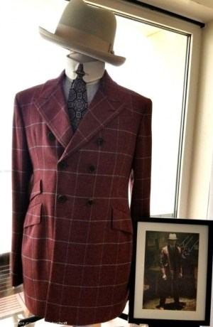 Nucky's red windowpane three-piece suit, as seen at YourProps.com with the second season-worn shirt and tie.