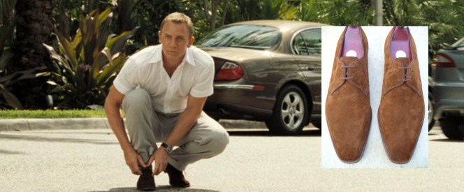 The glimpse we get of Bond's shoes and a pair of Lobb's Sandons.