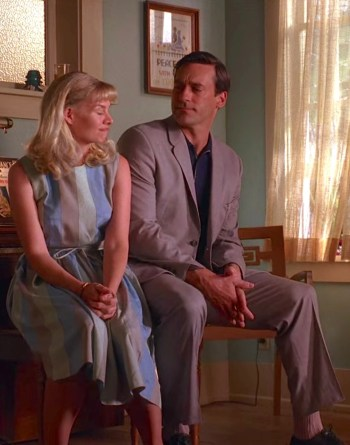 "Jon Hamm and Melinda Page Hamilton as Mr. and Mrs. Donald Draper on Mad Men (Episode 2.12: ""The Mountain King"")"