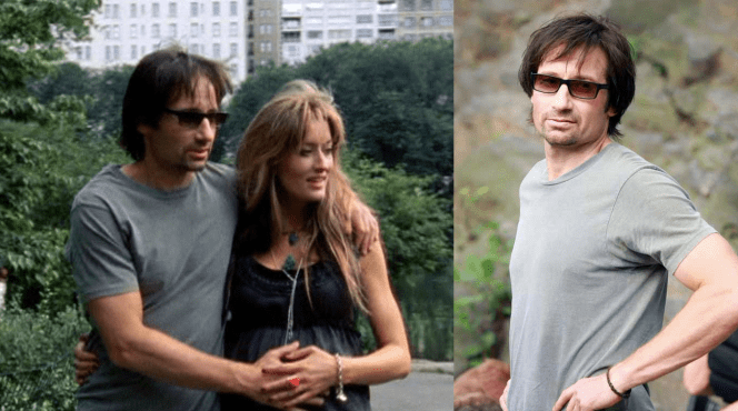 Hank and Karen in New York as Duchovny wears his personal pair of OPs. Note that there's now a braided leather bracelet on his wrist, very similar to the one he wears through the rest of the show. Does it signify some sort of unbreakable tie with Karen? Just a guess.