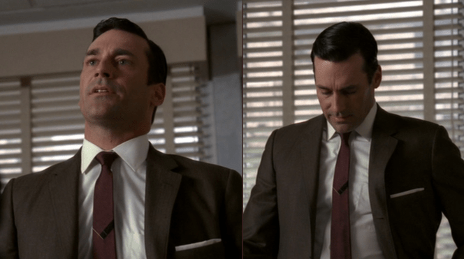 """A solid maroon tie would probably also work for the look, but that subtle design in the middle says """"Fuck you, I'm Don Draper"""" so..."""